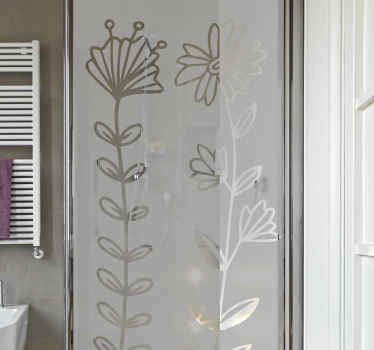 Decorate the bathroom shower door space with our simple touch of flower shower wall sticker. It is customisable in colour and size options.