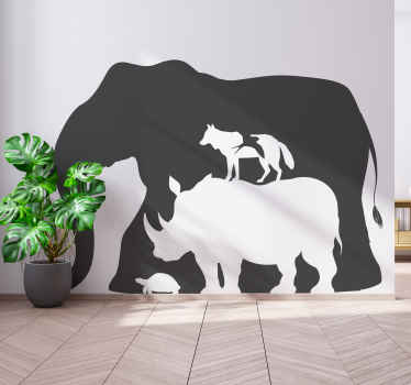 Decorate the home with special and unique design like our wild giant elephant wall art decal  containing other animals within itself.