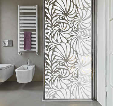 An amazing bathroom shower screen sticker made with textural ornamental sheet design with customisable colour options. It is self adhesive.