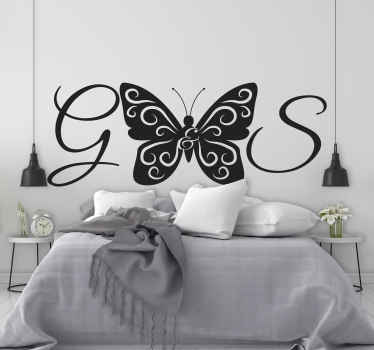 A home wall decal with a pretty butterfly design and your personalize choice of letter text  to create  amazing and perfect space in a house.