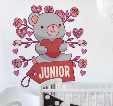 Cree un ambiente feliz en la habitación de su hijo con nuestro vinilo pared bebé con nombre y osito de peluches envuelto de rosas ¡Envío a domicilio!