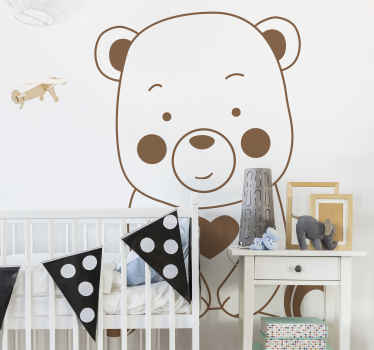 A decorative drawing wall sticker for kids with the design of a big bear. It is available in any required size and in different colour options.