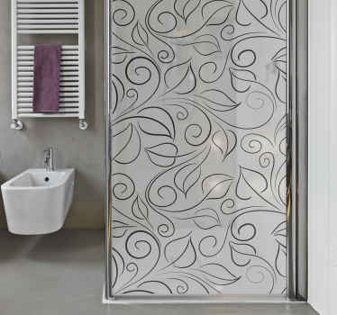 A shower screen sticker to decorate a bathroom door. This design is created with ornamental leave patterns and it is customisable to any size.