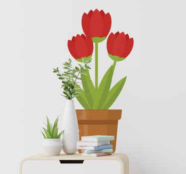 Vinilo flores pared para embellecer la estancia de elección del hogar. Bonito vinilo decorativo flores en una maceta. Alta calidad ¡Envío a domicilio!