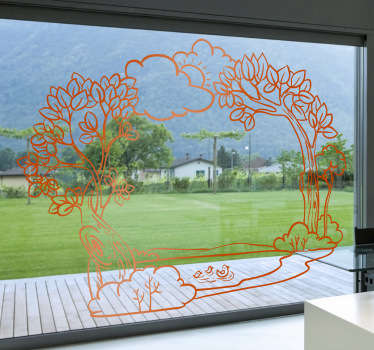 Adhésif mural cadre nature