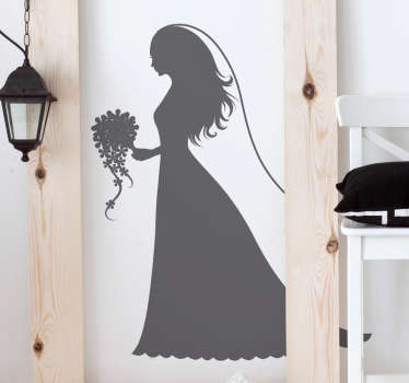 Sticker with the silhouette of a girl dressed as an elegant bride with a veil and bouquet of flowers.