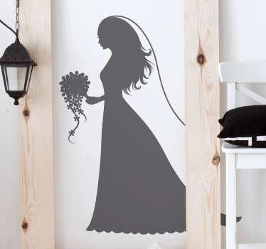 Sticker decorativo silhouette sposa