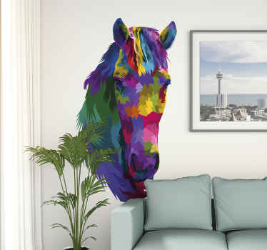 A home wall decal decoration for lovers of horses. A horse head designed in multicolour style. It is available in any size needed.