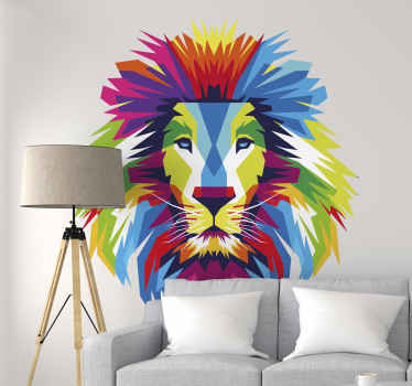 Animal wall sticker design of a multicolored lion head. A high quality product available in any required size and it is self adhesive.