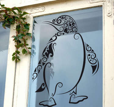 An abstract illustration of a penguin from our exclusive collection of penguin wall stickers to give your home a new appearance.