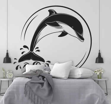Home wall sticker decoration of a dolphin to create a nautical touch in your space. It is available in any size required and easy to apply.