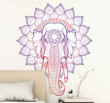 A decorative wild elephant face wall sticker decoration with a boho tribal design. It is available in any size required.