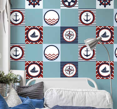 Decorative tile sticker with different sailors elements to decorate your kitchen or bathroom space. It is available in pack sets and in any size.