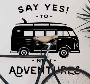 Decorative vehicle wall sticker decoration of a caravan with an adventure inspired text. It is available in different colours and size options.