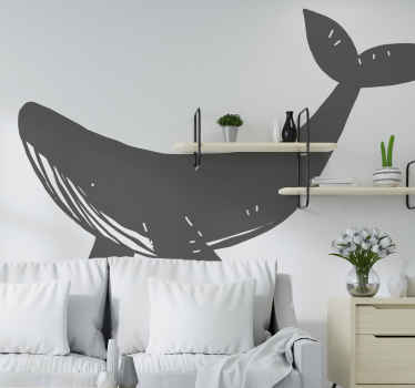 A big drawing fish wall decal to decorate any space with a marine touch. The design is featured with a whale and the colour and size is customisable.