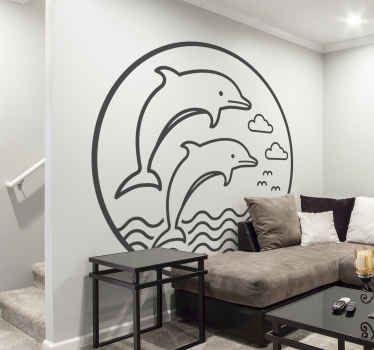 A simple touch of marine fish wall  decal to improve your space. A hand drawing jumping dolphin decoration available in any required size.