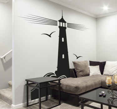 A lighthouse wall sticker with flying seagulls to create a nautical atmosphere in your space. It is easy to apply and available in any size required.