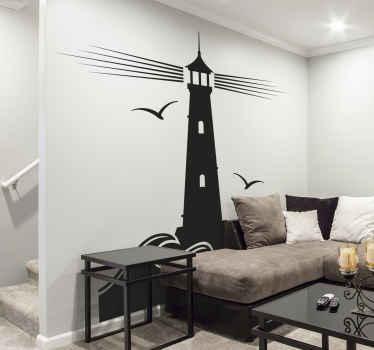 Sticker marin pour créer une ambiance nautique dans votre maison. Cette décoration murale est composée d'un phare et de mouettes volant autour de lui. Plusieurs tailles au choix.