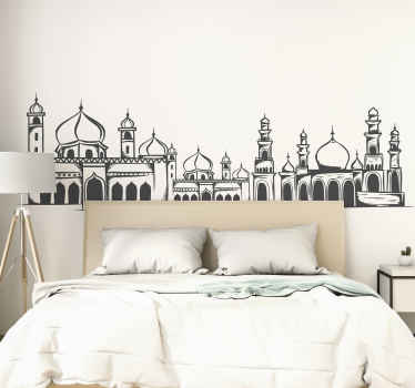 An Eastern landscape wall art decal to improve a space with the touch of  an Arabian landscape. It is available in different sizes and colour options.