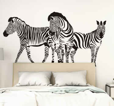 A wild animal wall decal to improve any space.  This design has three zebras and would be amazing on any space of choice.