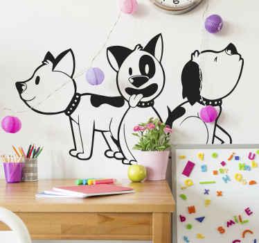 特にキッズスペースのためのあなたの家のためのペットの装飾。 3匹の犬が描かれたデザインで、手描きのスタイルで作成されています。