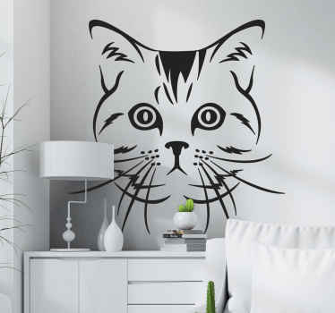 A decorative cat wall decal design for lovers of cats and pets generally. It is available in different colours and size options.