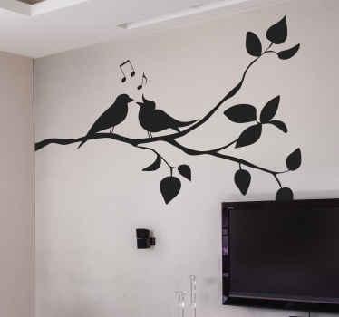 Árbol en vinilo con pájaros besándose y cantando para decorar tu hogar de forma bonita. Elige color y tamaño ¡Envío a domicilio!