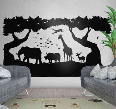 An amazing savanna landscape with animals wall decal decoration for your home. It is available in any required size and easy to apply on flat surface.