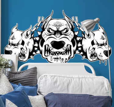 Decorative animal wall sticker decoration for the home and office space.The design host the image of three angry dos and would be lovely on any space.