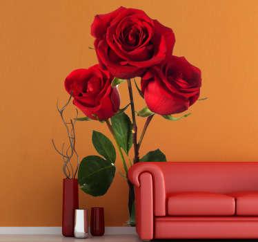 üç kırmızı gül çiçek duvar çıkartması