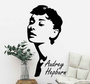 A personality  character wall art decal design of Audrey Hepburn. Its easy to apply and we have it in different size options for your decoration space.