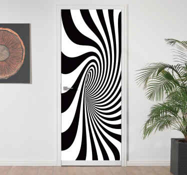 Door vinyl sticker decoration with design of a black hole in  visual effect appearance. It is available in any required  size.