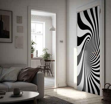 Winylowa naklejka na drzwi z wzorem czarnej dziury z efektem wizualnym. Jest dostępna w dowolnym wymaganym rozmiarze, idealna dla Twoich drzwi!