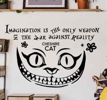 抽象的な顔とテキストを使って設計された有名な引用壁デカール:想像力が唯一の武器です。必要なサイズでご利用いただけます。