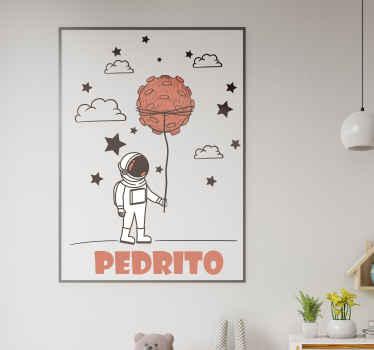 Personaliseret hjemmevægklistermærke-design af en astronaut i rummet. Det kan tilpasses med ethvert navn, du vælger. Let at anvende og fås i alle størrelser.