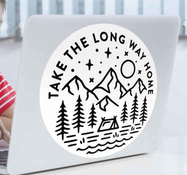 Laptop vinyl sticker to decorate  laptop surface. It is designed with sketched drawing of mountains and trees with the text '' take the long way home.
