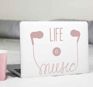 Music listening device laptop vinyl sticker to decorate a laptop surface with the rhythm of music. It is available in different size and colours.