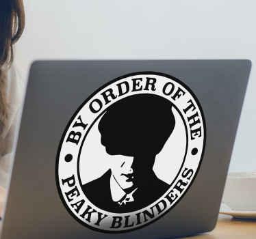 Laptop Aufkleber von Peaky Blinders Filmthema zur Dekoration eines Laptops. Erhältlich in jeder gewünschten Größe und die Anwendung ist einfach.