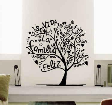 Vinil decorativo da parede da árvore feito com palavras. Está disponível em diferentes cores e opções de tamanho e sua aplicação é fácil.