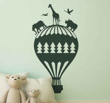 Decorative balloon with jungle animals wall sticker for kids bedroom space. It is available in different colour and size options.