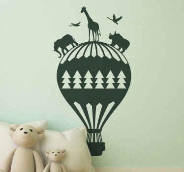 Sticker chambre d'enfant montgolfière et animaux de la jungle. Il est disponible en différentes couleurs et tailles.
