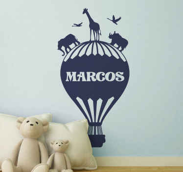 Balloon with named jungle animals wall sticker for kids. Personalize the name of your child on this design to decorate the bedroom space.