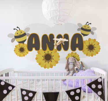 An illustrative wall art decal decoration for the bedroom of your princess. The design is featured with bees with flower prints and customisable name.