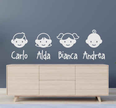 Drawing wall sticker design of family members with names.  A nice way to unite and introduce every member of the family especially to the young ones.