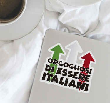 Decalcomania in vinile con testo che può essere posizionata su qualsiasi superficie piana a scelta. E' creato con una rappresentazione del colore della bandiera italiana e disponibile in qualsiasi dimensione.