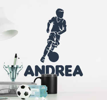 Boy player football wall sticker to decorate the space of your young ones in the home . The foot ball wall art is available in different colours.
