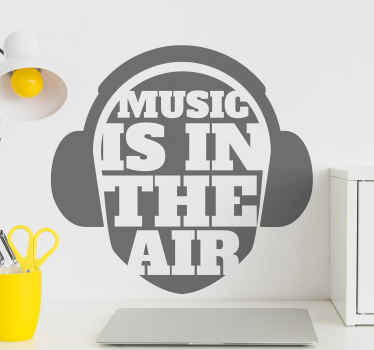 Teen home wall sticker decoration to light up their space. A headphone design with text' music in the air. It is available in different size options.