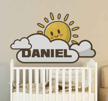 Customisable name kids wall decal with the design of the sun and cloud in a smiley style. It is avvailable in different sizes.