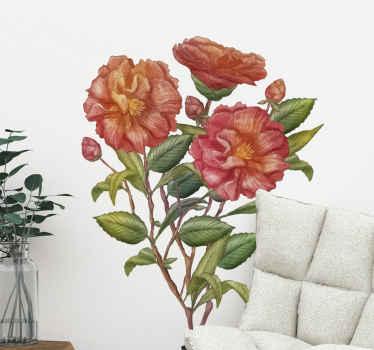 Vinilo flores pared de tonos rosas y rojos perfecto para decorar tu dormitorio o salón. Ilumina tu casa con este maravilloso diseño ¡Envío a domicilio!