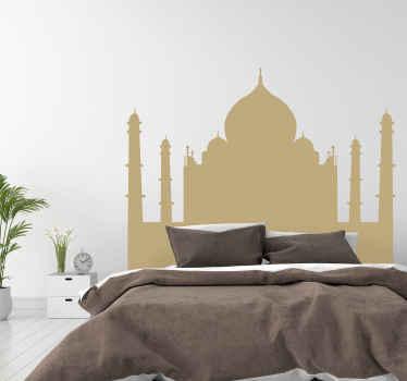 Sticker tête de lit pour la décoration pour votre maison. Cette décoration murale représente le tajmahal dans un style silhouette. Plusieurs tailles et couleurs disponibles.